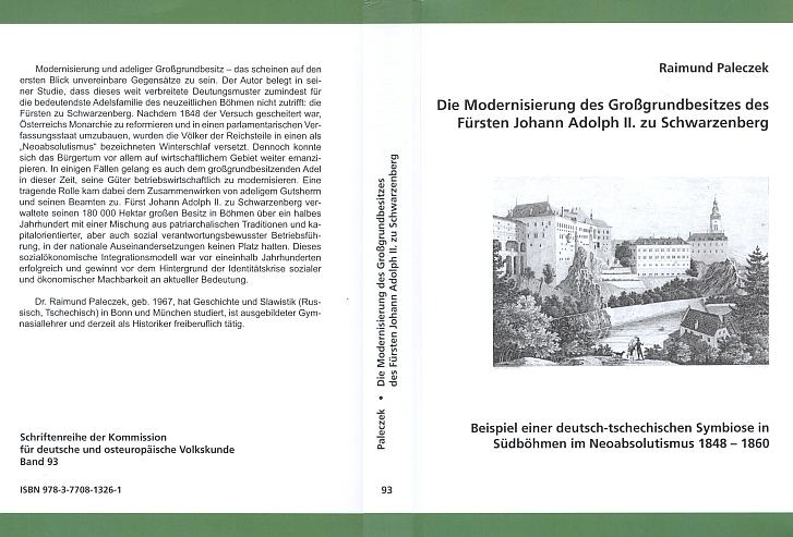 """Obálka (2009) knižního vydání (nakladatelství Elwert v Marburgu) jeho doktorské disertace v ediční řadě komise pro německý a východoevropský národopis, provázeného předmluvou Karla Schwarzenberga, s Heberovou litografií Krumlova a v """"šumavských"""" barvách"""
