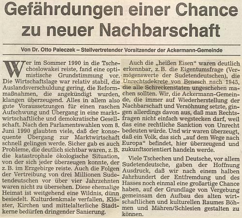 Úvodní článek jednoho z čísel oficiálního orgánu krajanského sdružení v únoru roku 1992 pochází od jeho otce