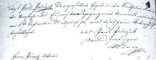Přísaha věrnosti, kterou složil 6. září roku 1814 v Českém Krumlově Raimundův předek Paul Paleczek, podepsaný zde třemi křížky se jménem, které dopsal úřední sluha Jakob Lederer a potvrdil aktuál Franz Pursch
