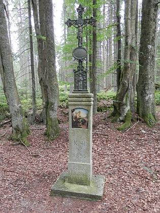 Obnovený křížek, označující revír Hučina (Hutschenbach)