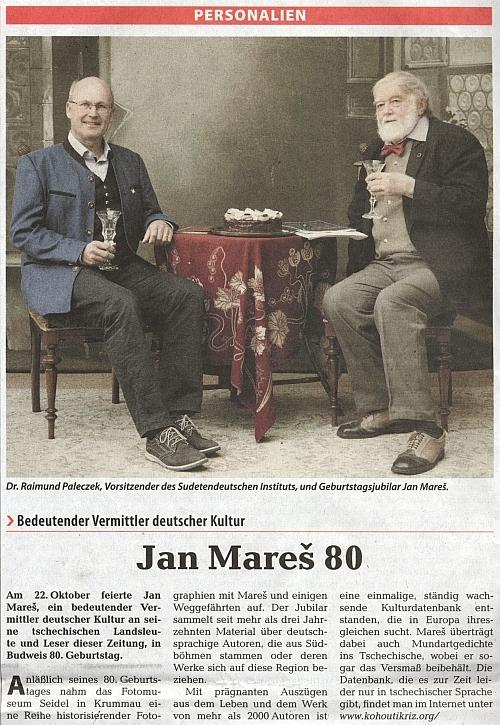 """Na snímku """"od Seidelů"""", který doprovázel článek k osmdesátinám Jana Mareše v ústředním krajanském listu"""