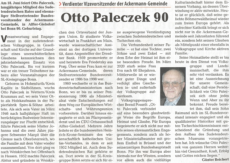 Připomínka otcových devadesátin na stránkách ústředního krajanského listu