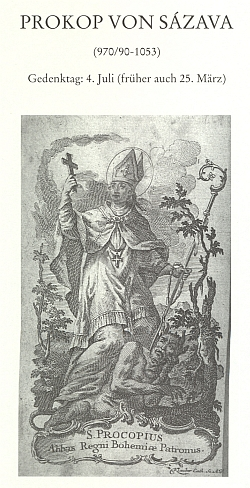 Záhlaví kapitoly o sv. Prokopovi, kterou přispěl do sborníku o českých zemských patronech a v níž připomněl i patrocinium světcovo v šumavských Prášilech (Stubenbach)