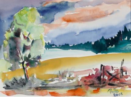 """Jeho akvarel s názvem """"Landschaft"""", tj. """"Krajina"""" z roku 2008"""
