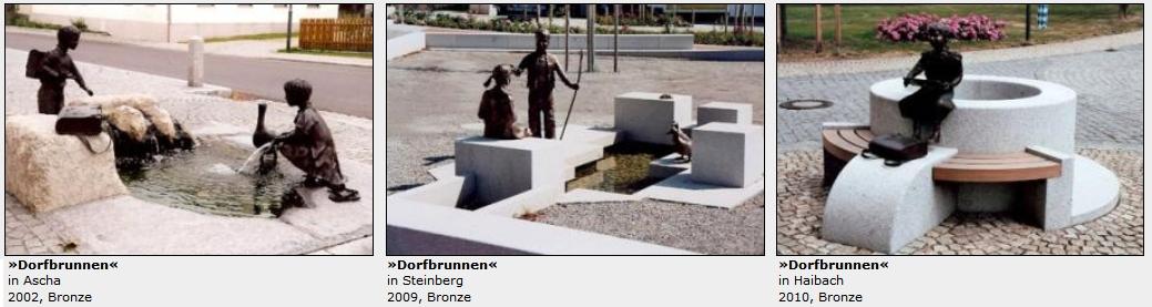 Tři z jeho kašen ve veřejném prostoru