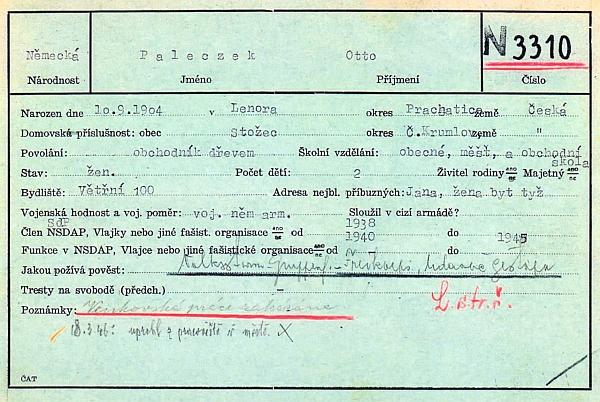 Osobní karta z českobudějovického sběrného tábora