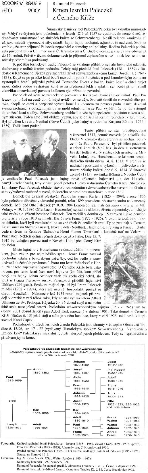 Článek, který napsal Raimund Paleczek o svém dědovi a pradědovi pro Rodopisnou revui a doprovodil jej i dvěma snímky, na nichž je praděd Karl (1859-1937) zachycen