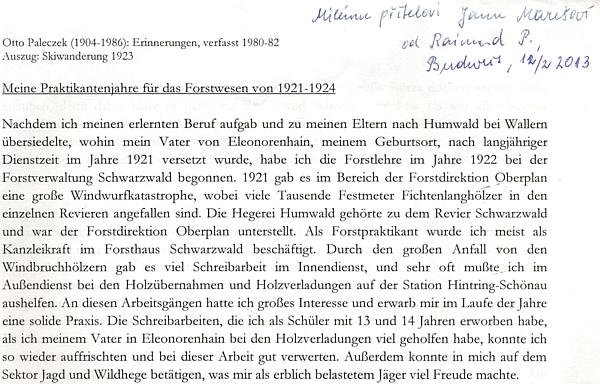 Úvod originálu jeho vzpomínek s věnováním jeho vnuka Raimunda