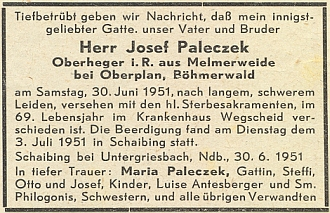 """Parte otcova bratrance Josefa, """"nadhajného z Melmerweide u Horní Plané"""", na stránkách krajanského časopisu v létě roku 1951"""