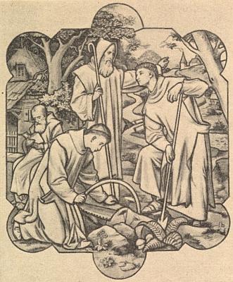 Svatý Vintíř v malbě na skle, jejímž autorem je Franz Xaver Kurländer (1866-1959), v kostele ve Schaldingu u Pasova