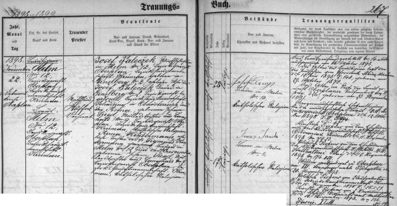 Záznam hornoplánské oddací matriky o zdejší svatbě jeho rodičů dne 22. listopadu roku 1898 - osmadvacetiletý ženich Josef Palecžek, hospodář v Jelmu čp. 12, se narodil v hornorakouské osadě Ginzlberg (dnes místní část obce Sankt Roman) čp. 2 jako syn tamního rolníka Josefa Palecžeka a jeho ženy Anny, dcery Johanna Siegla, mlynáře v Dlouhém Boru (Langhaíd) čp. 9, soudní okres Horní Planá, sedmnáctiletá nevěsta Anna se pak narodila v Jelmu čp. 12 jako dcera tamního rolníka Sigmunda Kindermanna a Crescentie, jako ženichova matka, tedy coby její sestra, dcery Johanna Siegla, mlynáře v Dlouhém Boru čp. 9