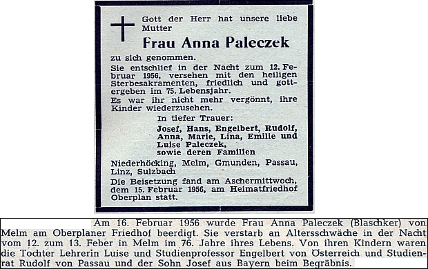 Parte a zpráva o úmrtí jeho matky, zesnulé v Jelmu a pochované v únoru 1956 na hřbitově v Horní Plané, jak je otiskl krajanský časopis