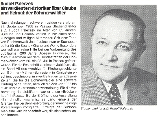 """Hned prvý odstavec jeho nekrologu v """"Glaube und Heimat"""" hovoří o něm jako o pasovském """"předmostí"""" časopisu, který hned na vedlejší straně časovou shodou otiskuje úmrtní oznámení bavorského premiéra, předsedy CSU a přítele německých vyhnanců Franze Josefa Strausse"""