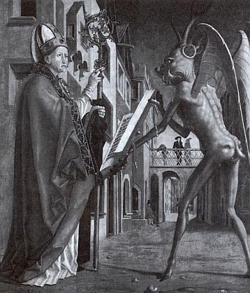 """Jeden z """"klučařských"""" svatých, řezenský biskup Volfgang, zde na obraze Michaela Pache odmítá satanskou bibli"""