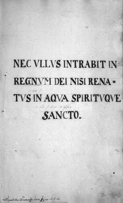 V titulu křestní matriky farní obce Rožmberk nad Vltavou stojí citát z Janova evangelia: Nenarodí-li se kdo z vody a z Ducha, nevejde do království Božího