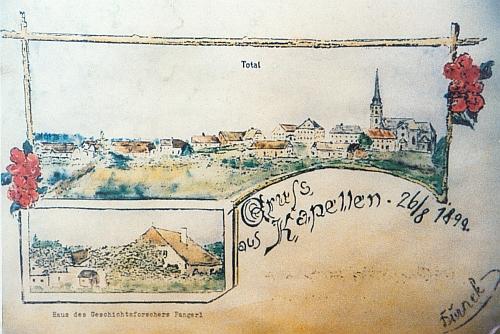 I stará barevná pohlednice z Kapliček připomíná vlevo dole vzhled Pangerlova stavení ve Lhotě čp. 2