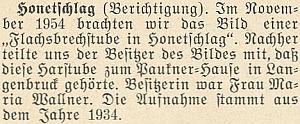Ke snímku pazderny u Hodňova otiskl krajanský měsíčník v lednu 1955 ještě tuto dodatečnou opravnou poznámku: že totiž náležela k nedaleké Olšině
