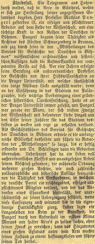 Obsáhlý nekrolog na titulní straně českobudějovického německého listu