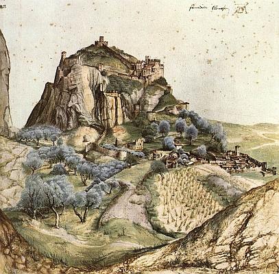 Slavná Dürerova kresba hradu a města Arco, kde Pangerl zemřel, pochází z roku 1495 a je součástí sbírek pařížského Louvru