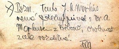 Pangerlovo věnování výtisku knihy ze sbírek Jihočeské vědecké knihovny Jordanu Kajetanu Markusovi s tužkou psanou poznámkou, že jde o jiného Markuse, než třeboňského (pod iniciály FM by se mohl skrývat ředitel třeboňského archívu František Mareš
