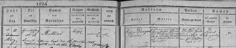 Záznam z hodňovské matriky o jeho narození v domě čp. 14 dne 10. března roku 1834