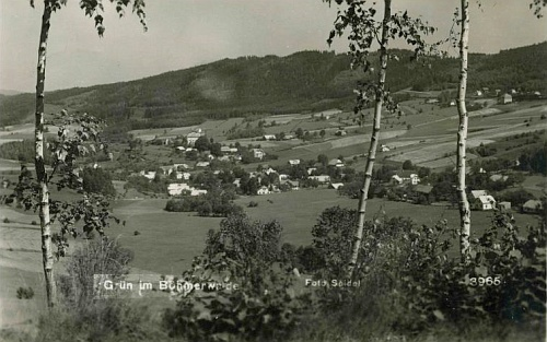 """Dvě pohlednice Zelené Lhoty, jejichž autory jsou Josef a Franz Seidel (té spodní """"od jihu"""")"""