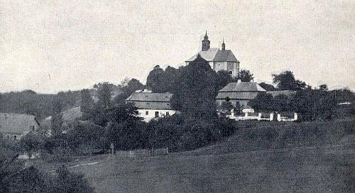 Kostel a fara v Zelené Lhotě na další staré pohlednici