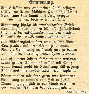"""Jeho báseň otištěná v """"meziválečném"""" diecézním časopise Glaube und Heimat"""