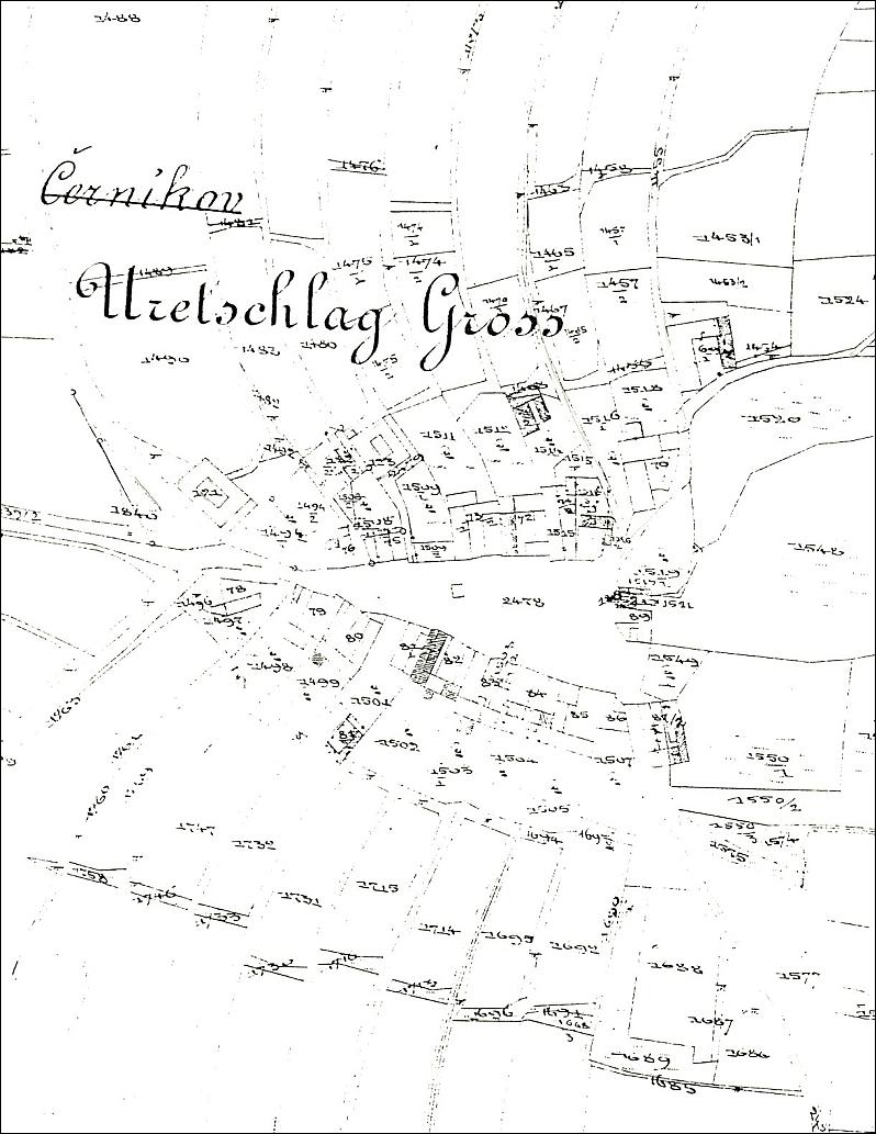 Katastrální mapa jeho rodné vsi Černíkov (viz i Hubert Panhölzl)
