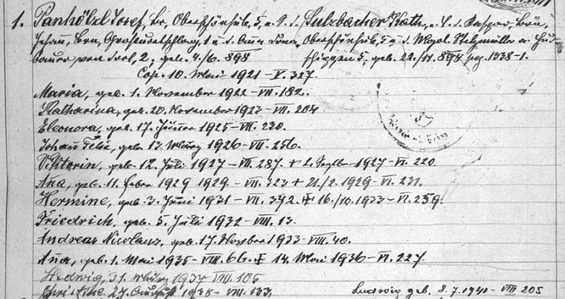 V rodovém katastru farní obce Vyšší Brod nacházíme i tento zápis o jeho manželství a 13 ratolestech z něho vzešlých vletech 1922-1940