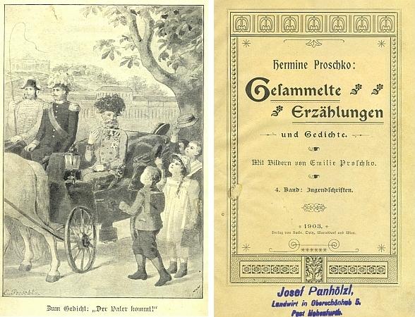 Jeho razítko je uchováno na titulním listě jednoho ze svazků Sebraných povídek a básní Hermine Proschkové, protější ilustrace je doprovodem k její básni o vítání císaře Františka Josefa školními dětmi