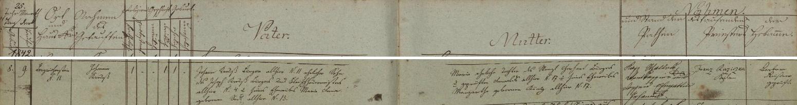 Záznam kašperskohorské křestní matriky o narození jeho ženy Johanny Kreussové dne 8. října roku 1842