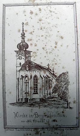 Kostel v Kašperských Horách před požárem z roku 1863...