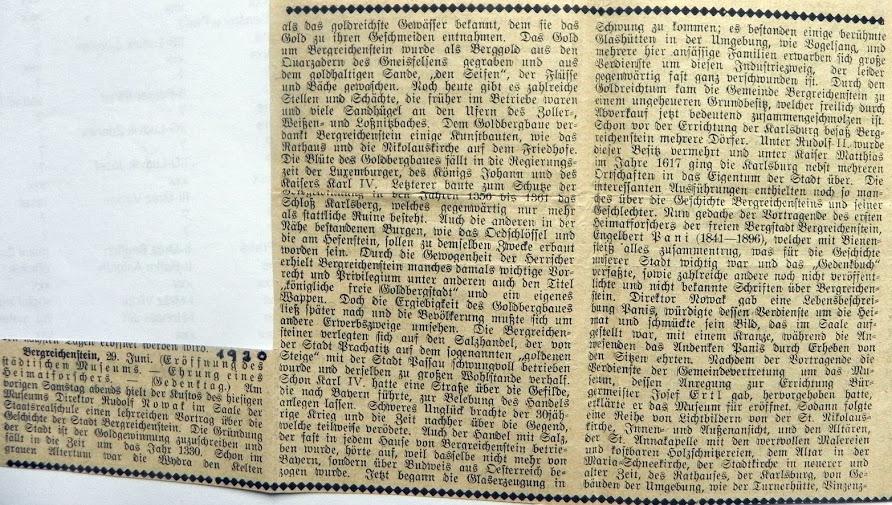 Článek k otevření muzea v Kašperských Horách roku 1930