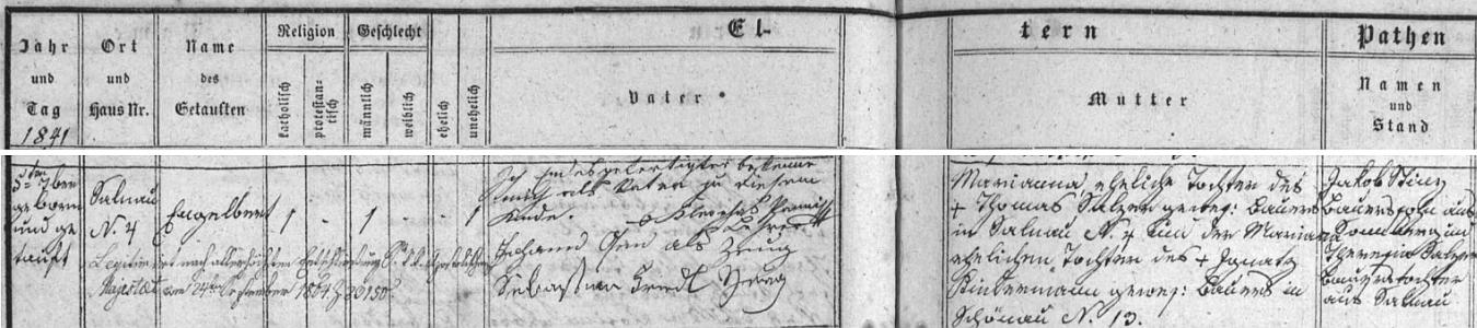 """Záznam o jeho narození provází přiznání otcovství, jak je podepsal vlastní rukou Kleophas Panni (akt byl legitimizován teprve rozhodnutím """"apoštolského majestátu"""" v září 1864!), svobodnou matkou byla pak Marianna, dcera †rolníka vŽelnavě čp. 4 Thomase Salzera a jeho ženy Marianny, dcery †rolníka v Šenavě (dnes Pěkná) čp. 13 Ignatze Kindermanna"""