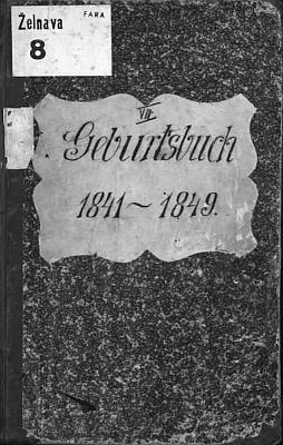 Desky želnavské matriky se záznamem o jeho zdejším narození v roce 1841