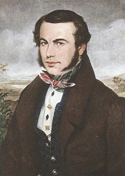 Nedatovaný portrét Stifterův od Ferdinada Georga Waldmüllera (1793-1865), kterého Pannwitz ve svém textu zmiňuje