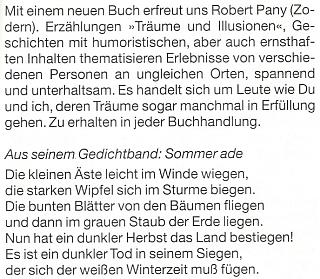 """Zpráva o jeho nové knize """"Träume und Illusionen"""" (1998) na stránkách krajanského měsíčníku"""