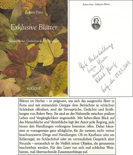 Obálka (2001) jedné z jeho knih vydané Fouqué-Literaturverlag v Egelsbachu i s autorovým věnováním