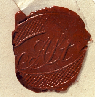 Stifterova pečeť na dopise, jehož adresátkou byla Betty Paoli