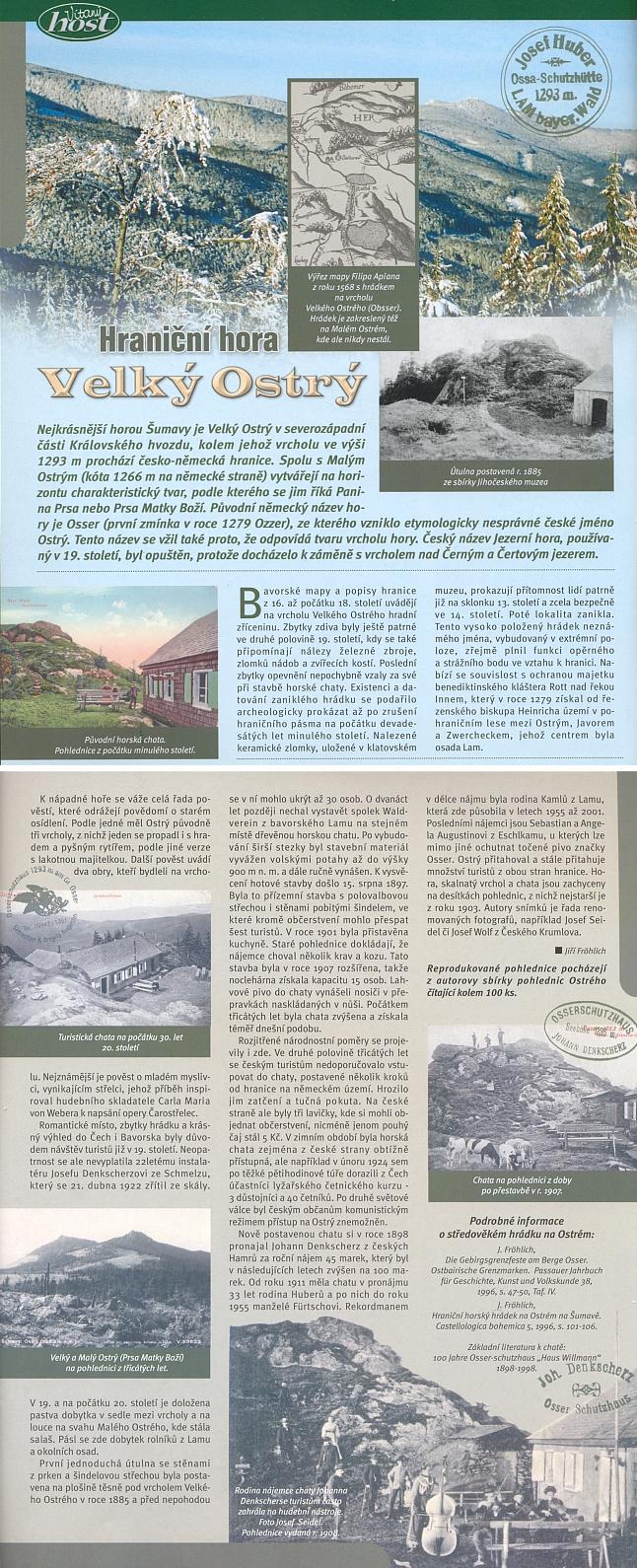 O hraniční hoře Ostrý v článku Jiřího Fröhlicha, doprovázeném ukázkami jeho sbírky pohlednic