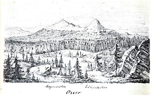 """Hora Ostrý s """"bavorským"""" a """"českým"""" vrcholem na kresbě Ferdinanda von Hochstettera"""