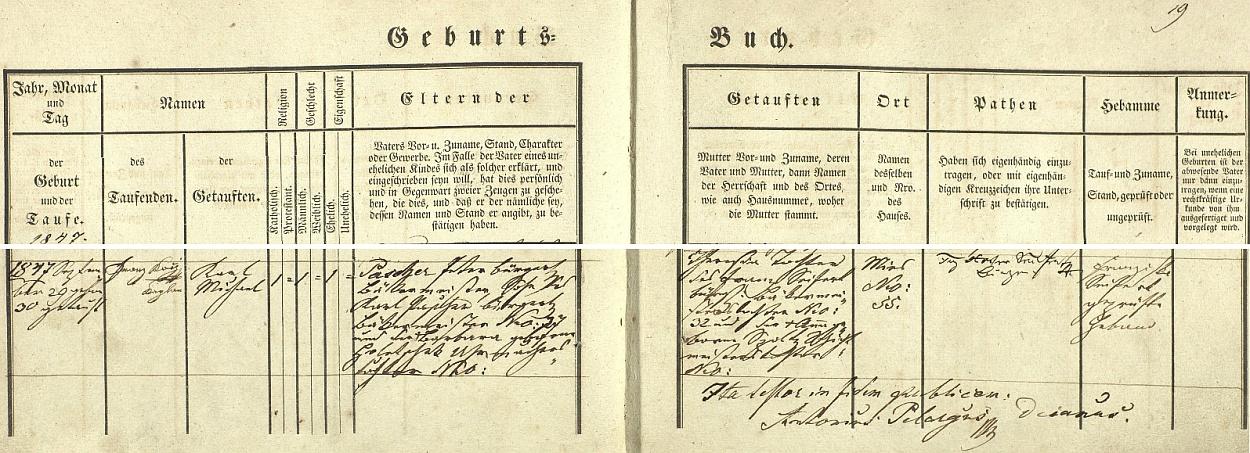 Záznam stříbrské křestní matriky o jeho narození dne 29. září roku 1847 a křtu následujícího dne kaplanem Franzem Kochem na jméno Karl Michael Pascher - novorozencův otec Peter Pascher, stříbrský měšťan a mistr pekařský vrodném domě chlapcově čp. 35, byl synem mistra pekařského Karla Paschera a jeho ženy Barbary, dcery hodináře Holetschaka, matka novorozencova Theresia byla pak dcerou pekařského mistra Franze Seiferta ze Stříbra čp. 32 aAnny, roz. Szoltzové, dcery ševce Szoltze - zkoušená porodní bába se jmenovala Franziska Seifertová