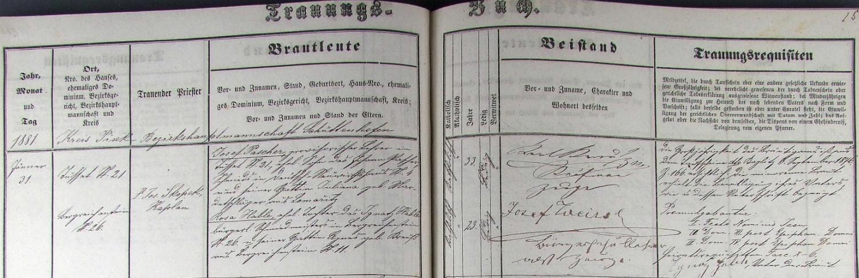 Záznam o svatbě rodičů v Kašperských Horách 31. ledna roku 1881, tedy 4 měsíce před jeho narozením