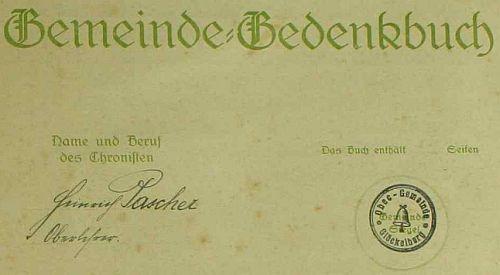 Titulní list pamětní knihy s jeho podpisem a razítkem obce Glöckelberg