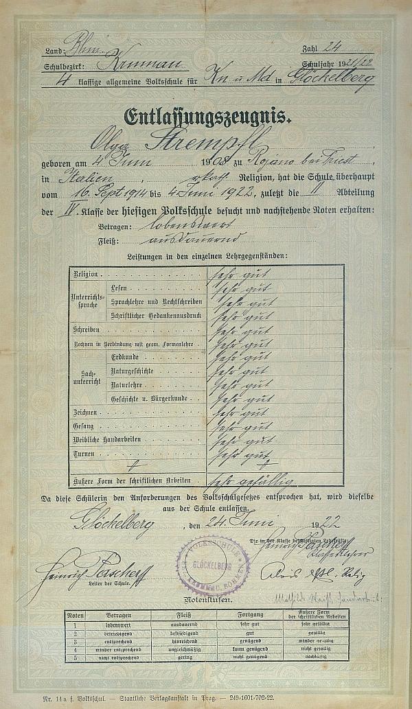 Jeho podpis vidíme spolu s Esslovým na vysvědčení Olgy Strempflové (babičky jednoho ze současných šumavských autorů Jindřicha Špinara) zroku1922