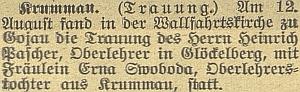 Zpráva o jeho svatbě v Kájově na stránkách českobudějovického německého listu