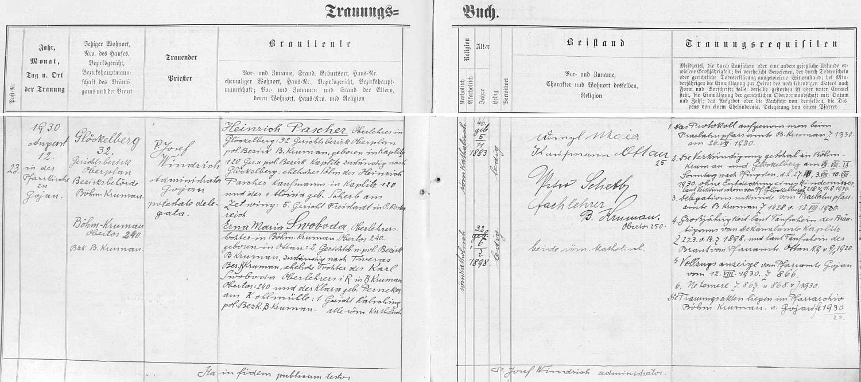 Záznam kájovské oddací matriky o jeho zdejší svatbě