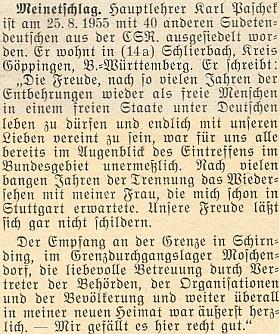 """Po propuštění z ČSR napsal v roce 1955 do krajanského měsíčníku i své vyjádření: """"znovu jako svobodní lidé ve svobodné zemi"""""""