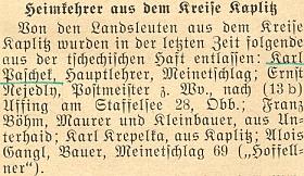"""Krátká zpráva o jeho propuštění z československého vězení v roce 1955 do Německa mezi jinými """"navrátilci domů"""" z někdejšího okresu Kaplice"""